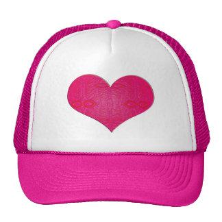 pink glow heart trucker hat