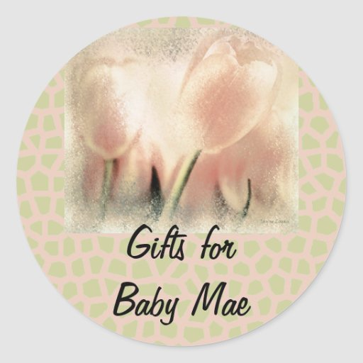 Pink Glow, Tulips, Gift Sticker Template Stickers