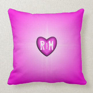Pink Glowing Heart Monogram Throw Pillow