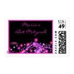 PINK GLOWING STARS  Bat Mitzvah Invitation Stamp Postage