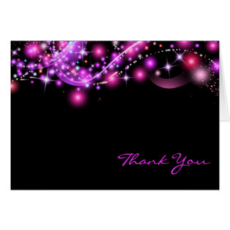 PINK GLOWING STARS  Folded Thank You Card