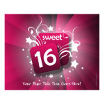 Pink Glowing Swirls and Stars Sweet 16 Flyers