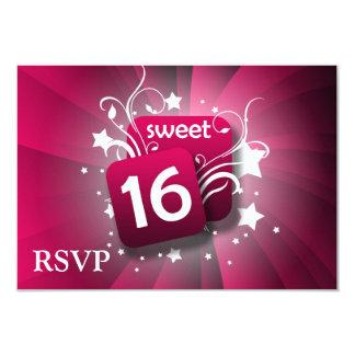 "Pink Glowing Swirls and Stars Sweet 16 3.5"" X 5"" Invitation Card"
