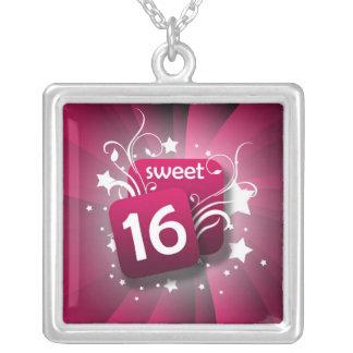 Pink Glowing Swirls and Stars Sweet 16 Custom Necklace