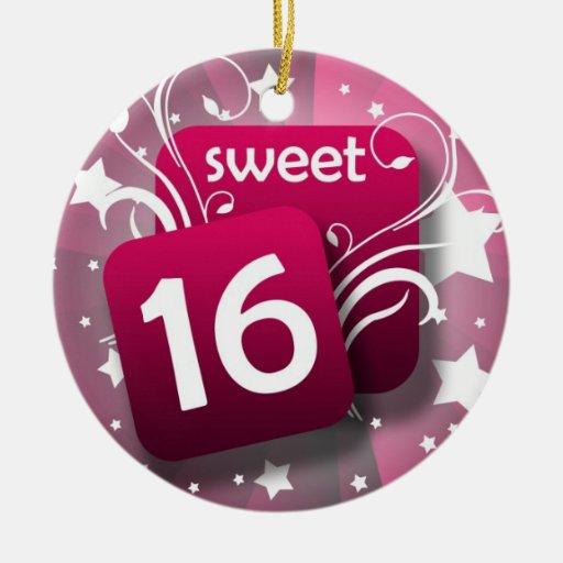 Pink Glowing Swirls and Stars Sweet 16 Christmas Tree Ornaments
