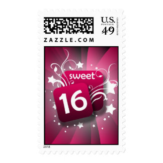 Pink Glowing Swirls and Stars Sweet 16 Postage Stamp