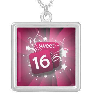 Pink Glowing Swirls and Stars Sweet 16 Square Pendant Necklace