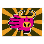 Hand shaped Pink Gnu Wildebeest Card
