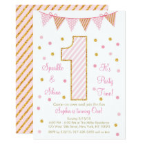 Pink & Gold 1st Birthday Card
