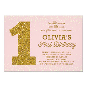 Pink and gold 1st birthday invitations zazzle pink gold 1st birthday invitation 1 little candle filmwisefo