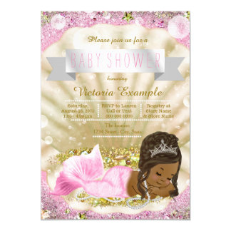 Pink Gold African American Mermaid Baby Shower Card