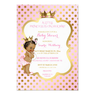 Pink & Gold African American Princess Baby Girl Card