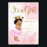 """Pink Gold African American Princess Baby Shower Card<br><div class=""""desc"""">African American princess baby shower invitation with adorable ethnic princess baby girl wearing pink tutu and gold crown with a string of pearls on a beautiful pink and gold background. This elegant pink and gold baby shower invitation is easily customized for your event by adding your details in the font...</div>"""