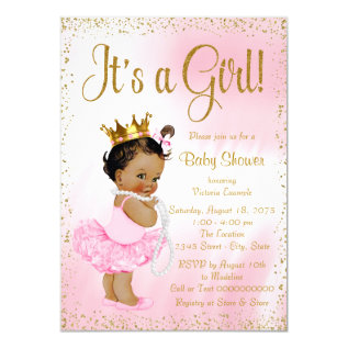 Pink Gold African American Princess Baby Shower Card at Zazzle