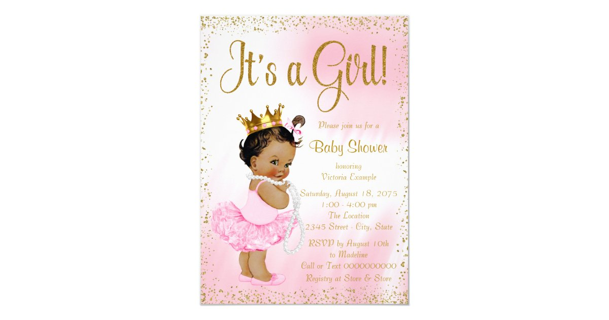Pink Princess Baby Shower Invitations & Announcements | Zazzle