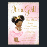 """Pink Gold African American Princess Baby Shower Card<br><div class=""""desc"""">African American princess baby shower invitation with adorable ethnic princess baby girl with ponytails and bows wearing a frilly pink tutu and gold crown with a string of pearls on a beautiful pink and gold background. This elegant pink and gold baby shower invitation is easily customized for your event by...</div>"""