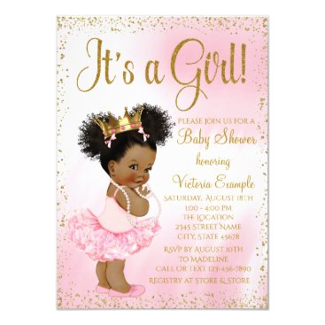 The_Baby_Boutique Pink Gold African American Princess Baby Shower Card