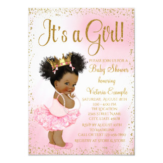 Pink Gold African American Princess Baby Shower Invitation