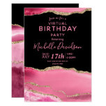 Pink & Gold Agate Virtual Birthday  Invitation