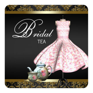 Pink Gold and Black Damask Bridal Tea Party 5.25x5.25 Square Paper Invitation Card