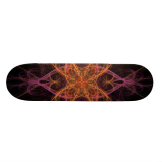 Pink Gold And Black Fractal Skateboard Deck