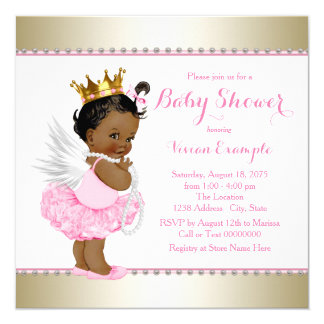 Pink Gold Angel Baby Girl Shower Card