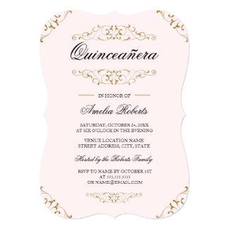 Pink Gold Antique Flourish Quinceanera Invitation