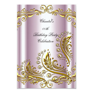 Pink Gold Any Age Elegant Birthday Party Floral Card