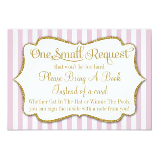 Pink Gold Baby Shower Book Card Bring A Book Girl