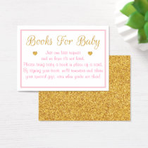 Pink & Gold Baby Shower Book Request Cards