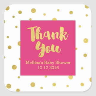 Pink Gold Baby Shower Thank You Favor Sticker