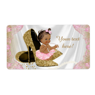 Pink Gold Baby Shower Water Bottle Labels
