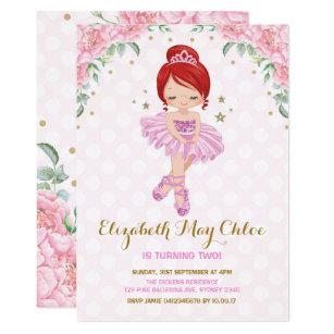 Girls tutu birthday invitations zazzle pink gold ballerina birthday invite princess party filmwisefo