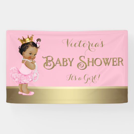 Pink gold ballerina tutu pearl baby shower banner Baby shower banners