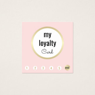Pink Gold Beauty Salon Customer Loyalty 6 Punch Square Business Card