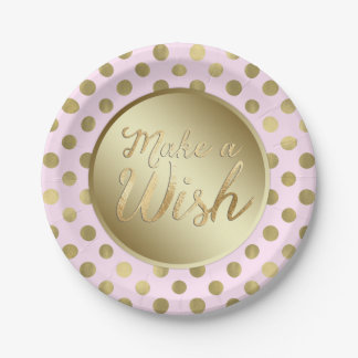 Pink Gold Birthday Party Paper Plate