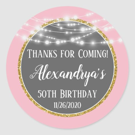 Pink Gold Birthday Thanks For Coming Favor Tags