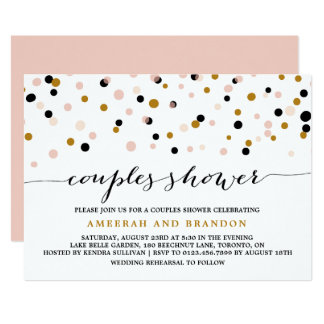 Pink, Gold & Black Confetti Dots Couples Shower Card