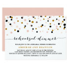 Pink, Gold & Black Confetti Dots Rehearsal Dinner Card