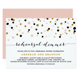 Pink, Gold & Black Confetti Dots Rehearsal Dinner Invitation