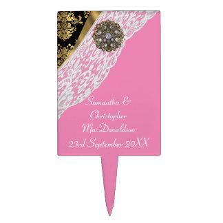 Pink gold black  damask white lace wedding cake topper