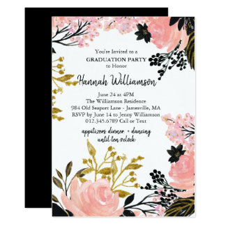 Pink, Gold, & Black Graduation Party Invitations