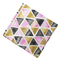 Pink, Gold, Black Watercolor Triangle Patterned Bandana