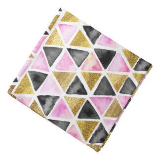 Pink, Gold, Black Watercolor Triangle Patterned Bandana