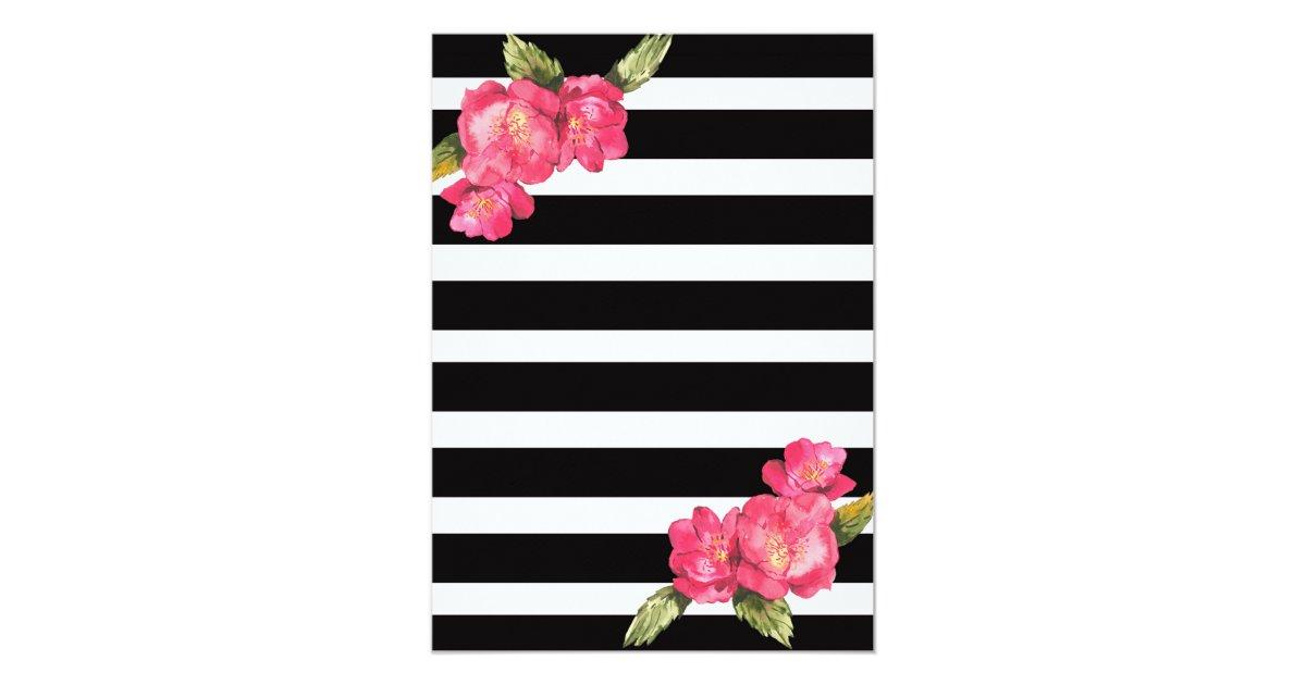Pink Gold Black White Bridal Shower Invitation – Black and White Wedding Shower Invitations