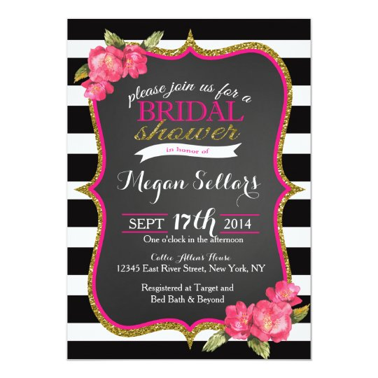 Pink Gold Black White Bridal Shower Invitation Zazzlecom
