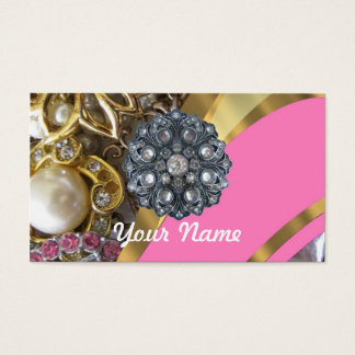 Pink & gold bling business card