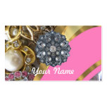 Pink & gold bling business card templates