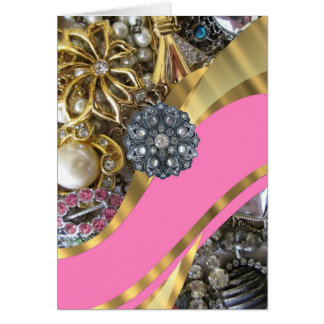 Pink & gold bling stationery note card