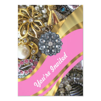 Pink & gold bling 5x7 paper invitation card